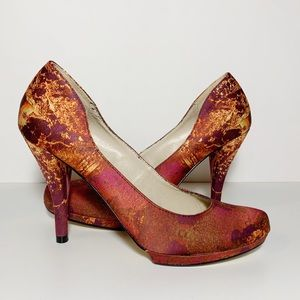 Christian Siriano Red Orange Fabric Pattern Pumps